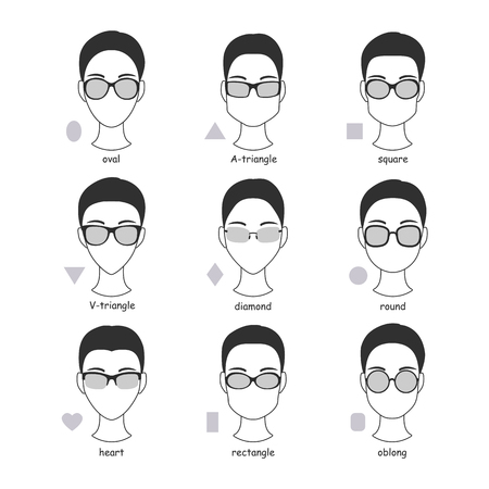 Set of silhouettes of various types of spectacle eyeglasses. Faces shapes to glasses frames comparison scheme.