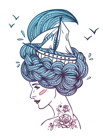 dreamer: Hand drawn color artwork of a dreaming young beautiful woman with ship in waves of curly swirly sea-like hair and rose tattoo on her neck and shoulder.