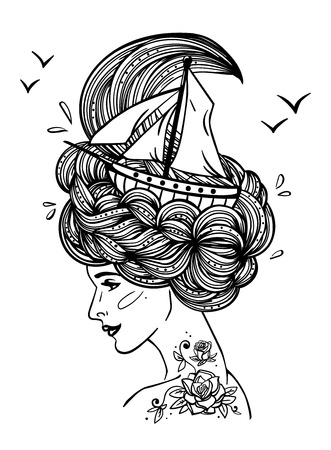 Page With Print For The Adult Coloring Book Hand Drawn Artwork Of A Dreaming Young