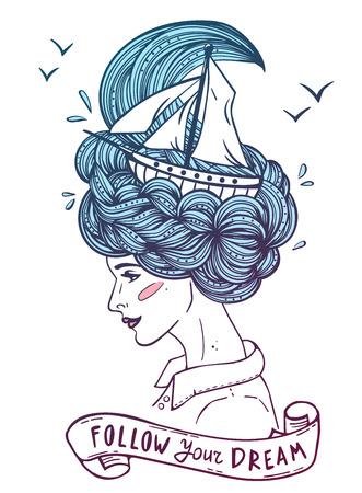 Hand gezeichnete Farbgrafik eines träumen junge schöne Frau mit Schiff in den Wellen von lockig swirly Meer wie Haare. Standard-Bild - 64303025