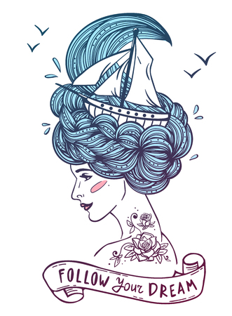 her: Hand drawn color artwork of a dreaming young beautiful woman with ship in waves of curly swirly sea-like hair and rose tattoo on her neck and shoulder.