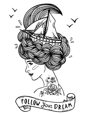 woman dreaming: Page with print for the adult coloring book. Hand drawn artwork of a dreaming young beautiful woman with ship in waves of curly swirly sea-like hair and rose tattoo on her neck and shoulder.