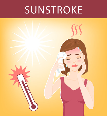 insolaci�n: Young beautiful woman suffers from sunstroke, sweating, feels dizzy and puts wet towel to her head. Vectores