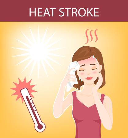 insolación: Mujer hermosa joven que sufre de un golpe de calor, sudoración, se siente mareado y pone toalla mojada en la cabeza.