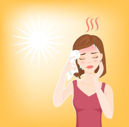 Junge schöne Frau leidet an Hitzschlag, Sonnenstich, hohe Temperatur, Schwitzen, fühlt sich schwindlig und legt nasses Handtuch auf den Kopf. Standard-Bild - 64303036