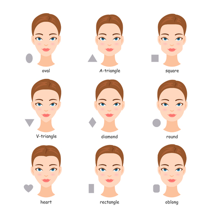 Female face types. Women with different face shapes. Vectores
