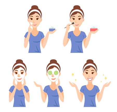 Aantrekkelijke mooie jonge vrouw gekleed in casual t-shirt van de zorg haar gezicht en de huid, met behulp van room en het toepassen van natuurlijke masker. Gezichtsbehandeling procedures, huidverzorging, gezonde levensstijl. Stock Illustratie