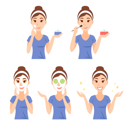 Attractive pretty young woman dressed in casual t-shirt care her face and skin, using cream and applying natural mask. Facial treatment procedures, skincare, healthy lifestyle.