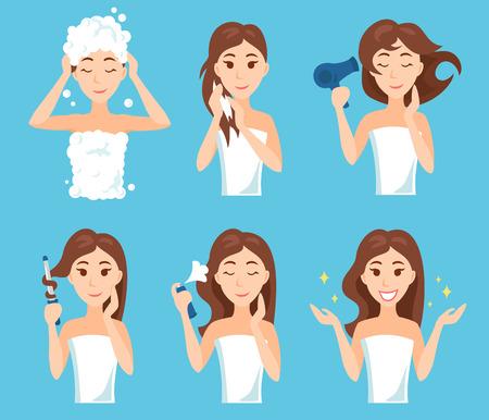 Attraktive junge Frau, waschen, pflegen und ihre Frisur. Haarbehandlungsverfahren. Standard-Bild - 79167080