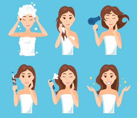 Attractive young woman wash, care and style her hair. Hair treatment procedures. Illustration