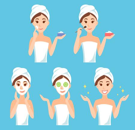 Attraktive junge Frau kümmert ihr Gesicht und die Haut, mit Sahne und Anwendung von natürlichen Maske. Gesichtsbehandlung Verfahren. Standard-Bild - 79167086