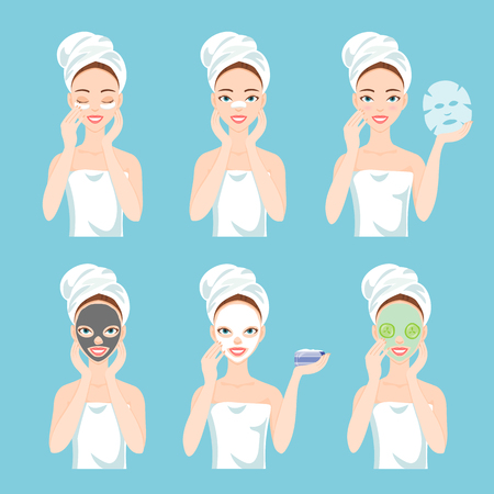 Different types of facial masks for skin care and treatment. Clay, charcoal, for nose, for eyes, paper, sheet and fresh masks. Ilustração