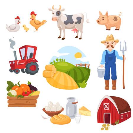 Große Reihe von Bauernhofelementen. Frische grüne Nahrung, Gemüse und Tagebuch, Vieh, Tiere, Haus und Landwirt mit Traktor. Standard-Bild - 79167401