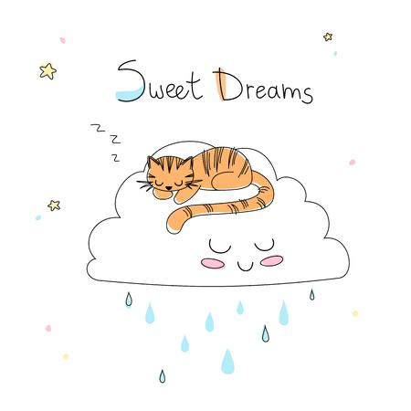 Kinderzimmerkunst: niedlicher kleiner von Hand gezeichneter Tiger schläft auf der lustigen weichen Wolke. Standard-Bild - 80348305