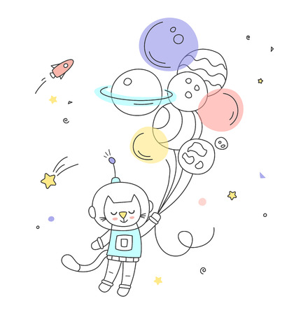 Nursery art cute little hand-drawn character flying to the space on the air balloons. Illustration