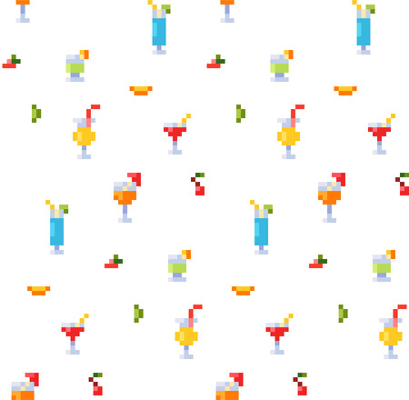 Pixel art style seamless pattern of ice and alcoholic summer drinks and beach cocktails. Standard-Bild - 97470257