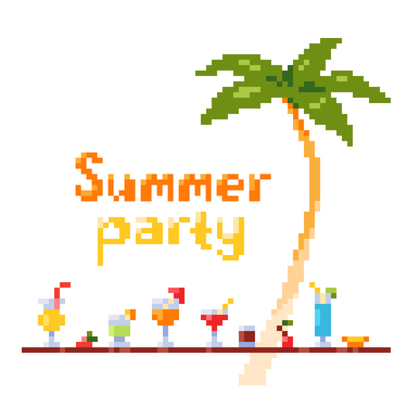 Pixel art style invitation party postcard with ice and alcoholic summer drinks and beach cocktails. Standard-Bild - 97470258