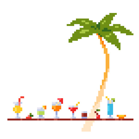 Pixel art style invitation party template with ice and alcoholic summer drinks and beach cocktails. Standard-Bild - 97470260