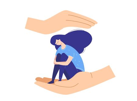 Sad depressed girl suffering from emotional problems protected and comforted by hands of help from negative thoughts.