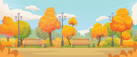 Empty autumn park. Cartoon autumn park road with yellow trees and benches. Autumn panoramic landscape september colorful vector background Ilustração
