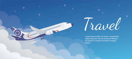 The banner of the airplane taking off from the clouds. Travel concept. Airplane in a flat style