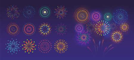 Set of festive fireworks. Vector colorful and monochrome celebration firework. Vector illustration 矢量图像