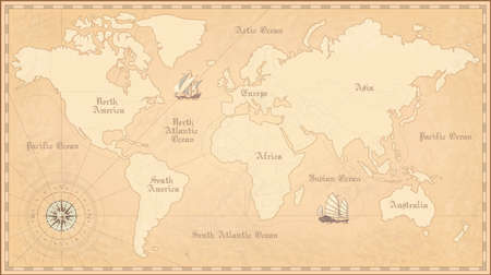 Old world map. Vintage paper map