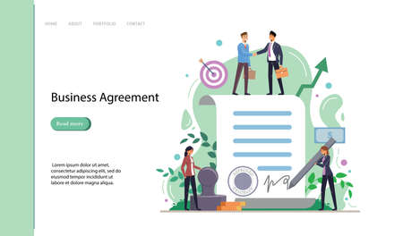 Business agreement. People standing on a signed contract. Vector Illustration