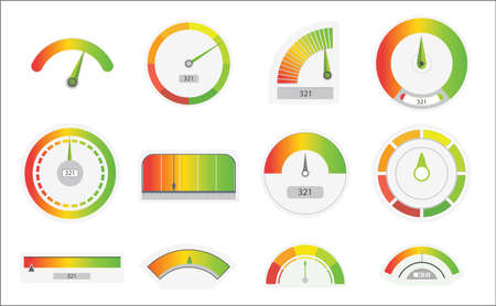 Business credit score speedometers. Credit score indicators with color levels from poor to good. Level indicator, credit loan scoring manometers set