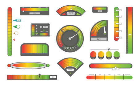 Credit score indicators. Customer satisfaction indicators with poor and good levels. Speedometer goods gauge rating meter