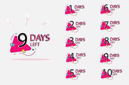 Days left badges. Set of number days left badge for sale or promotion, landing page, template, ui, web
