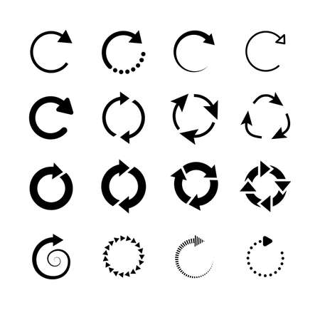Set of circle arrows. Circled cursor web recycling progress buttons vector isolated icons. Round arrow refresh reload rotation loop sign set. Simple web icon on white background