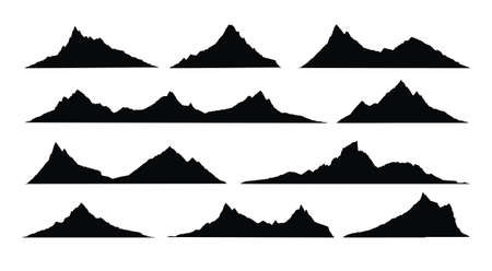 Mountains landscape silhouette. Abstract high mountain hike landscape. Vector set