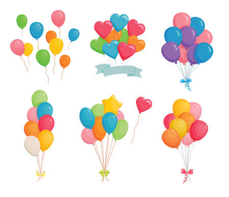 Set of festive balloons. Birthday party or carnival decorations balloon. Bunch of balloons flying in the air. Isolated vector illustration 矢量图像