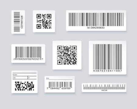 QR codes and barcode labels. Supermarket scan code bars, industrial barcode labels. Barcode label for scan, bar code sticker, vector illustration Ilustracje wektorowe
