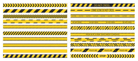 Police tape. Set of danger caution tapes. Do not cross, police, crime danger line, bright yellow official crime scene barrier tape. Vector flat style cartoon illustration isolated on white background.