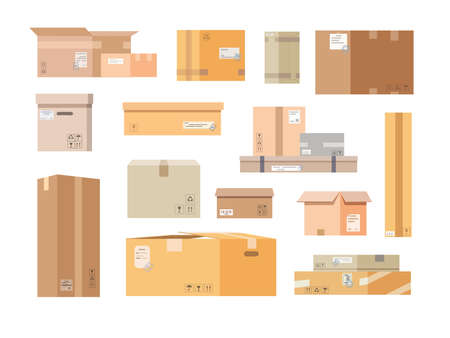 Cardboard boxes. Closed and open post boxes set. Vector illustration in flat style.