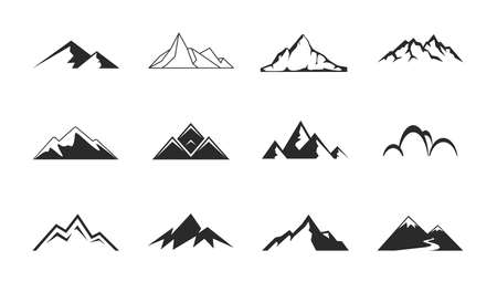 Mountains, rocks and peaks. Tibet or Alps peaks. Mountaineer hiking vector icons set Illustration