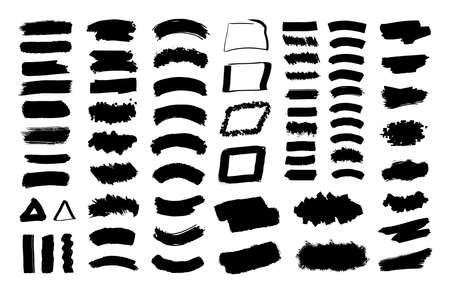 Black spots. Collection of black paint, ink brush strokes, brushes, lines, grungy. Vector set.