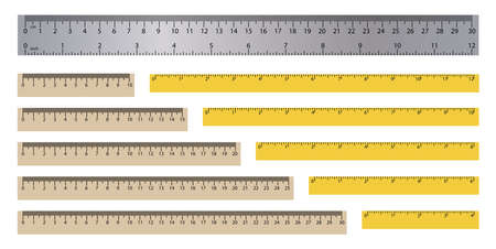 Realistic rulers. Measuring tool. School supplies. Double sided measurement in cm and inches. Vector illustration Vektoros illusztráció