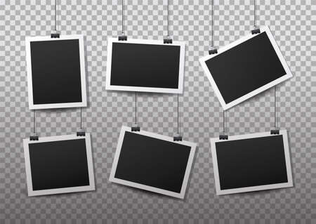 Hanging photo frames. Black empty place for your text or photo. Vertical and horizontal photo design template. Vector Illustratie