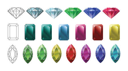 Jewels set. Vector illustration set of precious stones of different cuts and colors.