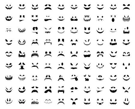 Halloween pumpkin faces icons set. Big set of scary pumpkin smile. Template for Halloween greeting card poster, brochure or flyer. Vector illustration. Vettoriali