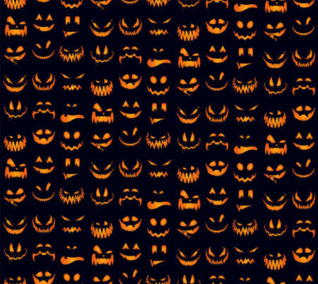 Seamless pattern with orange halloween pumpkins carved faces silhouettes. Can be used for scrapbook digital paper, textile print, page fill. Vector happy helloween illustration.