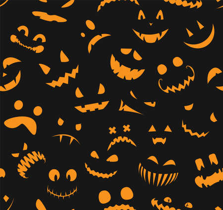 Seamless halloween pattern. Faces silhouettes on black background. Design for scrapbook paper, textile print, wallpaper. Vector illustration.