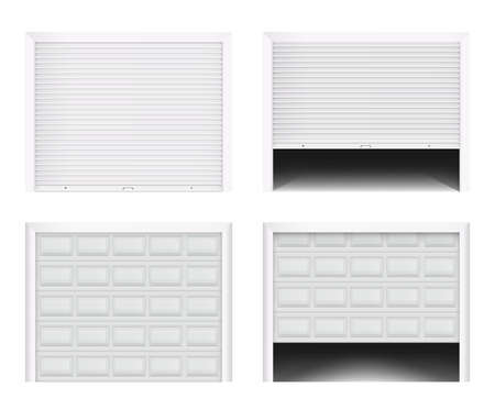 Roller garage gate. Secure roller shutters protect system, contemporary gate vector set. Realistic composition with opening door. Illustration