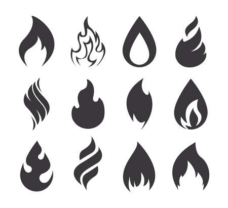 Fire icon. Simple black fire flames set isolated on white background. Collection of silhouette light effect elements for web. Vector
