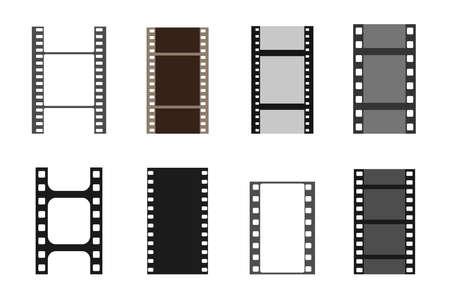 Set of film vector stripes. Cinema monochrome border celluloid tape, media empty image photo video vintage frame
