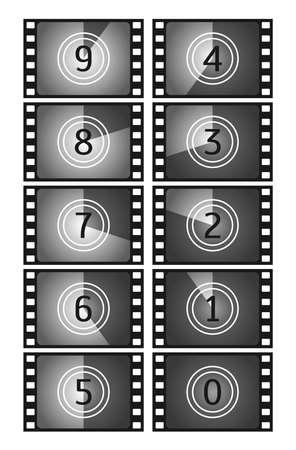 Movie countdown frame. Vintage silent film and blank full frame still photography film. Old film movie timer count. Vector illustration Ilustración de vector