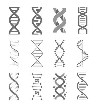 Human dna research technology symbols. Adn helix structure, genomic model and human genetics code. Vector isolated illustration set.